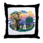 St Francis #2/ Schnauzer #2 Throw Pillow