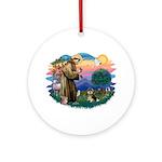 St Francis #2/ Pomeranian (T) Ornament (Round)