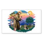 St Francis #2/ Pomeranian (T) Sticker (Rectangle)