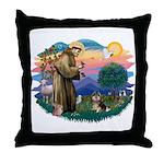 St Francis #2/ Pomeranian (T) Throw Pillow