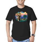 St Francis #2/ Pomeranian (T) Men's Fitted T-Shirt