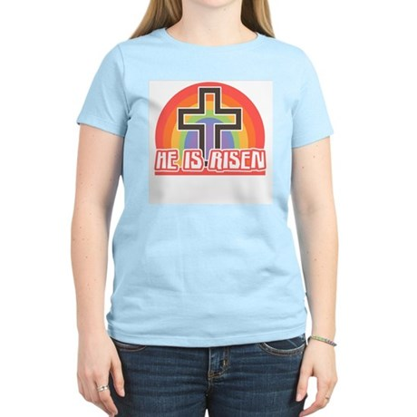 He Is Risen Religious Easter Women's Light Tee