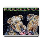 Two Airedale Terriers watermelon goblets Mousepad