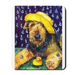Yellow Rain Hat duck Airedale Terrier Mousepad
