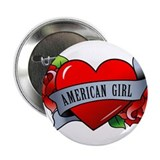 "Heart & Rose - American Girl 2.25"" Button"