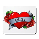 Heart &amp; Rose - Boricua Mousepad