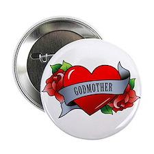 "Heart & Rose - Godmother 2.25"" Button"
