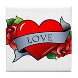 Heart &amp; Rose - Love Tile Coaster
