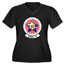 Cute Eleven Women's Plus Size V-Neck Dark T-Shirt