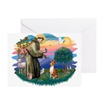 St Francis #2/ Basenji Greeting Cards (Pk of 20)