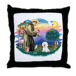 St Francis #2/ Bichon #1 Throw Pillow