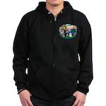 St Francis #2/ Bichon #1 Zip Hoodie (dark)