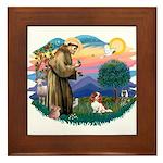 St Francis #2/ Cavalier (bl) Framed Tile