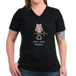 Give A Hoot Recycle Women's V-Neck Dark T-Shirt