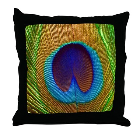 Peacock Feather Pretty Pillows Throw Pillow