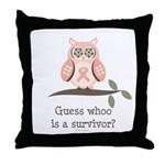 Pink Ribbon Owl Survivor Throw Pillow