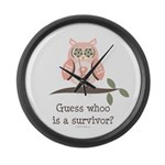 Pink Ribbon Owl Survivor Large Wall Clock