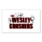 Wesley Crushers Sticker (Rectangle 50 pk) - Be a part of the best bowling team for geeks - The Wesley Crushers! This merchandise will make a bang with your friends. A big one. In theory. - Availble Colors: White,Clear