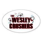 Wesley Crushers Sticker (Oval 10 pk) - Be a part of the best bowling team for geeks - The Wesley Crushers! This merchandise will make a bang with your friends. A big one. In theory. - Availble Colors: White,Clear