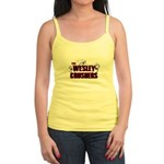 Wesley Crushers Jr. Spaghetti Tank - Be a part of the best bowling team for geeks - The Wesley Crushers! This merchandise will make a bang with your friends. A big one. In theory. - Availble Sizes:Small,Medium,Large,X-Large - Availble Colors: White,Light Blue,Light Pink,Lemon