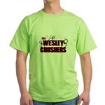 Wesley Crushers Green T-Shirt - Be a part of the best bowling team for geeks - The Wesley Crushers! This merchandise will make a bang with your friends. A big one. In theory. - Availble Sizes:Small,Medium,Large,X-Large,2X-Large (+$3.00) - Availble Colors: Green