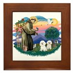 St Francis #2/ Bichon (2) Framed Tile