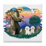 St Francis #2/ Bichon (2) Tile Coaster