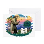 St Francis #2/ Bichon (2) Greeting Cards (Pk of 20