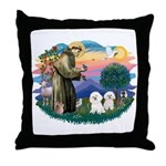 St Francis #2/ Bichon (2) Throw Pillow