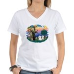 St Francis #2/ Bichon (2) Women's V-Neck T-Shirt