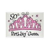 Tiara 50th Birthday Queen Rectangle Magnet