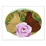 Trumpeter Pigeons and Rose Small Poster
