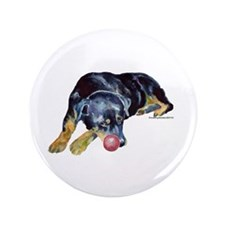 "Rottweiller with Ball 3.5"" Button"