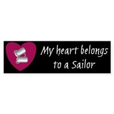My heart belongs to a sailor bumper sticker