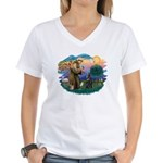St Francis #2/ B Shepherd Women's V-Neck T-Shirt