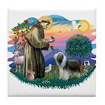 St Francis #2/ Beardie (sw) Tile Coaster