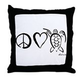 Peace, Love & Turtles Throw Pillow