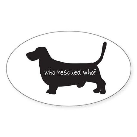 "Sticker: ""Who rescued who?"""