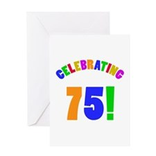 Rainbow 75th Birthday Party Greeting Card