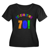 Rainbow 70th Birthday Party Women's Plus Size Scoo