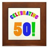 Rainbow 50th Birthday Party Framed Tile