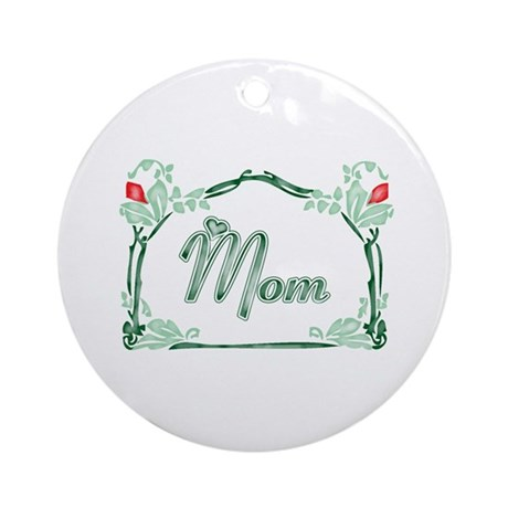 Mom Tattoo Style Ornament (Round)