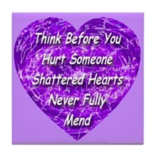 Shattered Heart Violet Tile Coaster