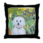 Irises / Maltaese (B) Throw Pillow