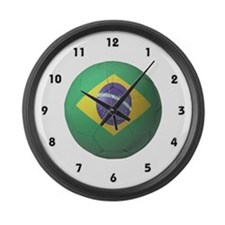 Brazil Soccer Large Wall Clock