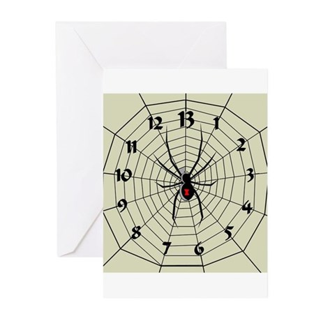 13 Hour Spiderweb Clock Greeting Cards (Pk of 20)