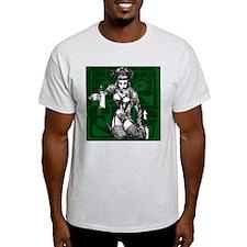Fre's Vandal Pinup #01 Green T-Shirt