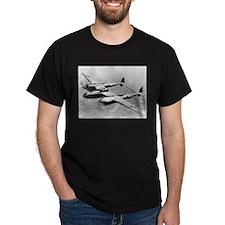 P-38 In Flight Black T-Shirt