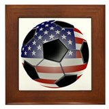 US Flag Soccer Ball Framed Tile