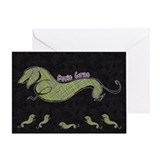 Doxie Gras Greeting Card